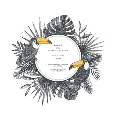 Tropical leaves and birds wedding invitation. Palm and toucan illustration. Vector illustration