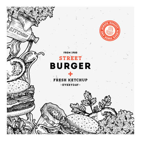 temlate: Fast food burger design template. Linear graphic. Snack collection. Junk food. Engraved illustration. Vector illustration Illustration