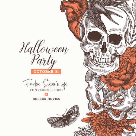 ハロウィーン パーティーのデザイン テンプレートです。ビンテージ花の解剖学の背景。ベクトル図