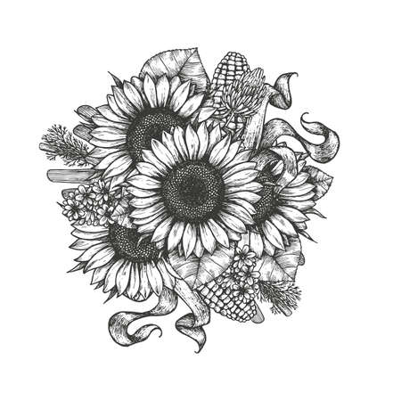Sunflower bouquet. Sunflower and farm elements round composition. Vector illustration