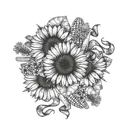Ramo de girasol. Composición redonda de los elementos del girasol y de la granja. Ilustración vectorial Foto de archivo - 88338710