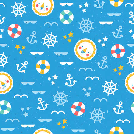 Sea theme seamless pattern. Colorful cute sea background. Vector illustration Ilustração