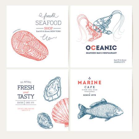 해산물 디자인 템플릿 컬렉션입니다. 물고기 배너 설정. 벡터 일러스트 레이 션 일러스트