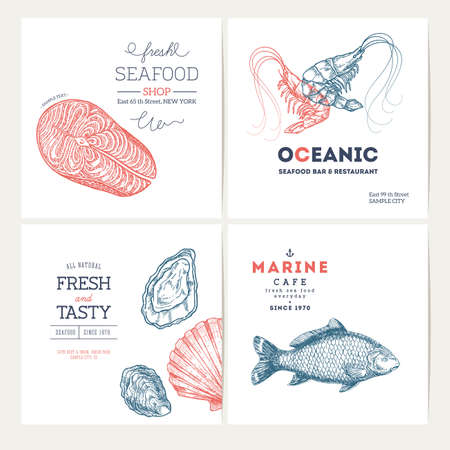 Colección de plantillas de diseño de mariscos. Banners de peces establecidos. Ilustración vectorial Foto de archivo - 88338081