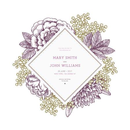 Floral wedding invitation template. Vintage flower greeting card. Vector illustration Vettoriali