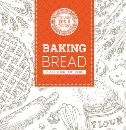 Baking Bread Template Illustration