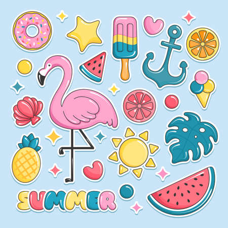 Summer beach elements stickers. Flamingo, ice cream, watermelon, sun, monstera, pineapple. Vector illustration