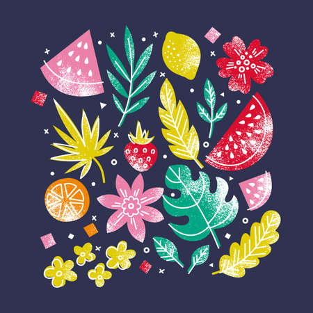 Summer leaves and fruits composition. Vector illustration