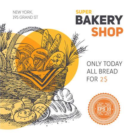 Bakery Shop Engraved Basket Template Illustration