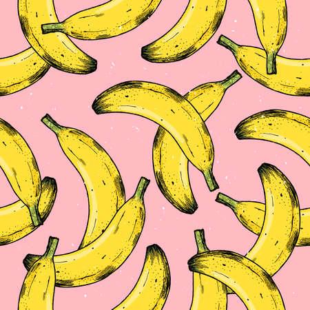Fun fruit background. Banana seamless pattern. Vector illustration Vetores