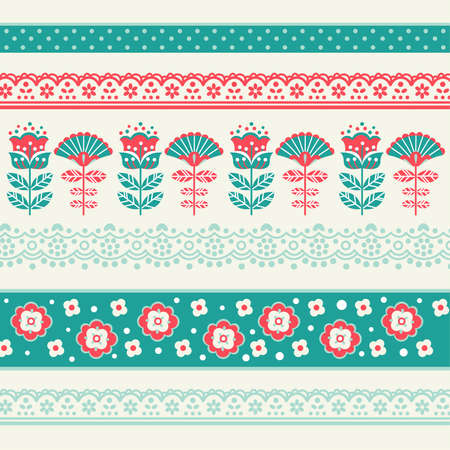 Cute retro fabric seamless pattern. Floral background. Vector illustration