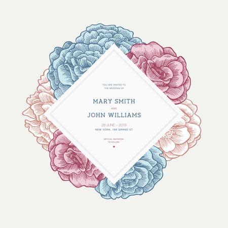 Floral wedding invitation template. Floral card design. Vintage roses. Vector illustration