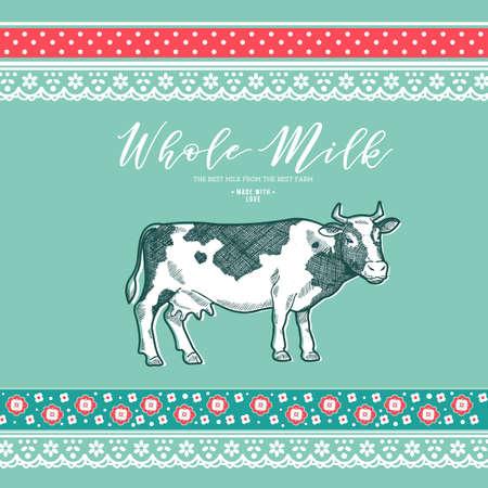 Milk cow design template. Linear graphic Engraved illustration. Vector illustration