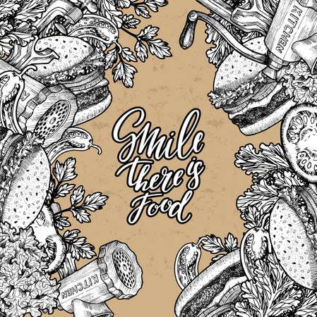 temlate: Fast food cardboard design template. Linear graphic. Snack collection. Junk food. Engraved illustration. Vector illustration