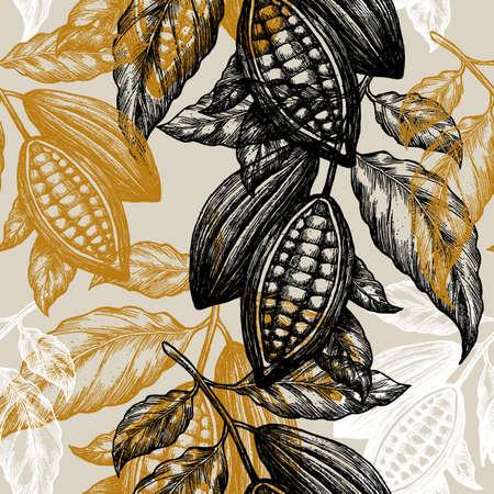 Padrão sem emenda de grãos de cacau. Ilustração de árvore de cacau. Ilustração do estilo gravado. Feijões de cacau de chocolate. Ilustração vetorial