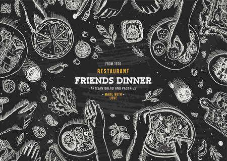 家族との夕食の上面図。夕食のテーブル背景。刻まれたスタイルの図。ヒーローのイメージ。ベクトル図  イラスト・ベクター素材