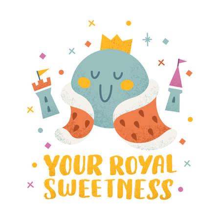 Kids print illustration. Funny cute king character. Vector illustration Illustration