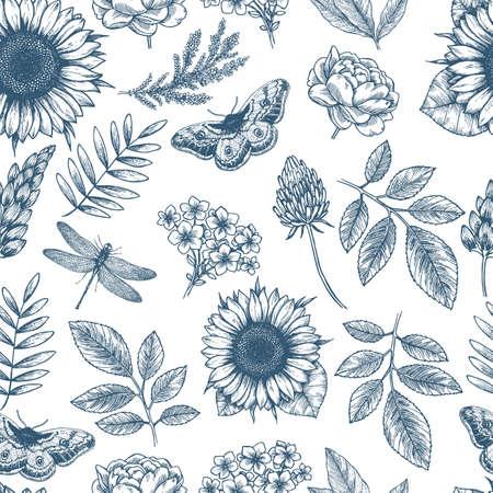 Naadloze bloemmotief. Lineaire schetsmatige stijl bloem elementen. Vintage stoffen ontwerp. Vector illustratie Stock Illustratie