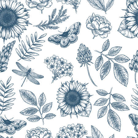 Floral seamless pattern. Linear sketchy style flower elements. Vintage fabric design. Vector illustration