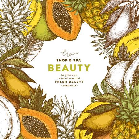 Fondo de fruta fresca. Plantilla de diseño de frutas tropicales. Ilustración vectorial Foto de archivo - 88551534