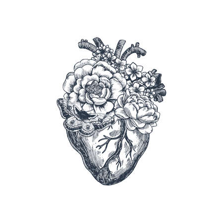 Tattoo anatomy vintage illustration. Floral anatomical heart. Vector illustration  イラスト・ベクター素材