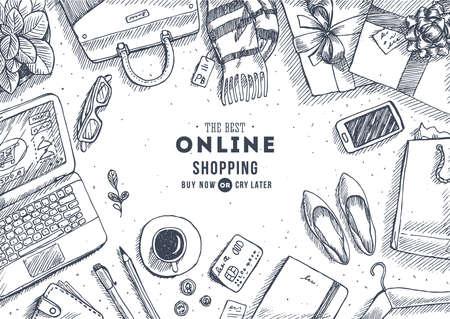 Online shopping top view illustration. Engraved style illustration. Hero image. Vector illustration Illustration
