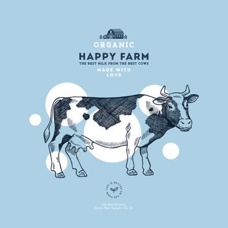 Farm cow design template. Cow illustration. Vector illustration Stok Fotoğraf - 89365911