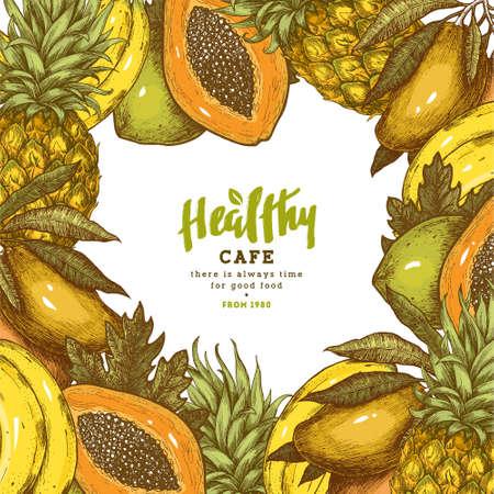 Vers fruitkader. Tropische vruchten ontwerpsjabloon. Vector illustratie