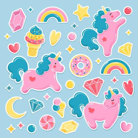 Raccolta di simpatici elementi di unicorno. Set di palloncini Unicorno, gelato, arcobaleno, dolciumi, diamanti. Illustrazione vettoriale Archivio Fotografico - 89121638