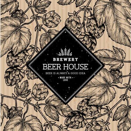 Illustrazione di birra luppolo. Illustrazione di stile inciso. Modello di design birra d'epoca. Illustrazione vettoriale