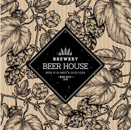 Ilustración de lúpulo de cerveza. Ilustración de estilo grabado. Plantilla de diseño de cerveza vintage. Ilustración vectorial Ilustración de vector