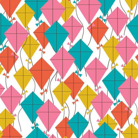 凧のシームレスなパターン。空飛ぶ凧の背景。レトロの生地のスタイル。ベクトル図