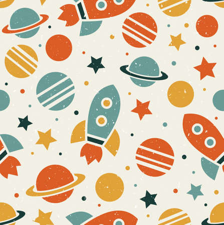 Space elements seamless pattern. Space background. Space doodle illustration. Vector illustration. Vettoriali