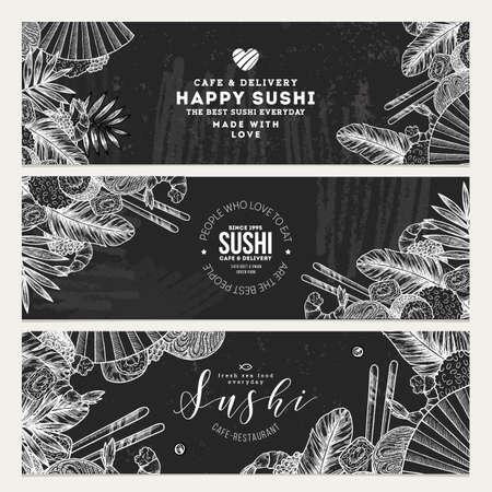 Sushi café en restaurant banner sjablonen. Aziatische voedselachtergrond. Vector illustratie