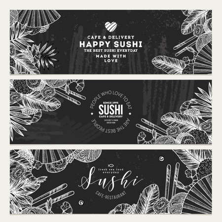 Sushi cafe and restaurant banner templates. Asian food background. Vector illustration Vectores