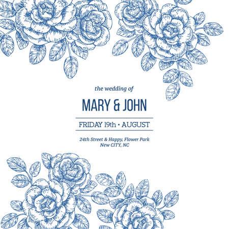 Floral wedding invitation. Vintage engraved roses greeting card. Vector illustration.