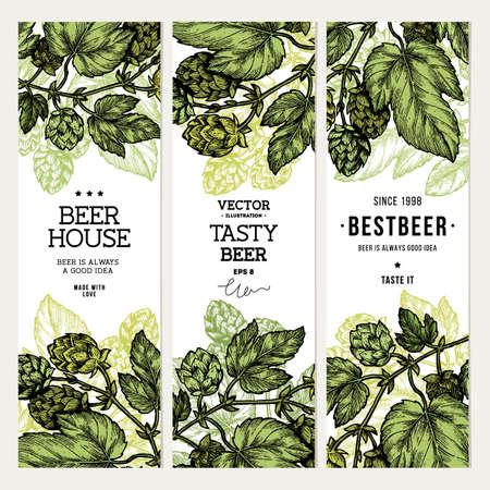 ビールのホップのバナー コレクション。刻まれたスタイルの図。ビンテージ ビール デザインのテンプレートです。ベクトル図
