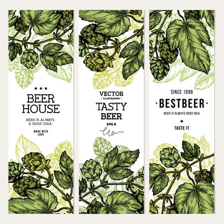 Beer hop banner collection. Engraved style illustration. Vintage beer design template. Vector illustration Stock Vector - 89214715