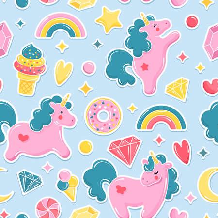 Unicorn cute seamless pattern. Unicorn, ice cream, rainbow, sweets, diamonds. Vector illustration