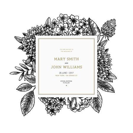 Wild leaves wedding invitation. Vintage floral design template. Vector illustration