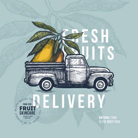 ファーム新鮮な配信デザイン テンプレートです。野菜とクラシック ビンテージ ピックアップ トラック。ベクトル図