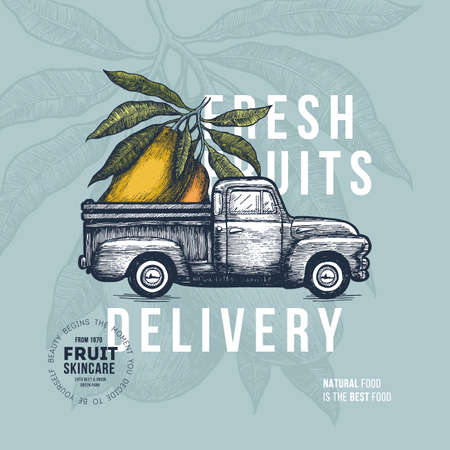 Farm fresh delivery design template. Classic vintage pickup truck with vegetables. Vector illustration