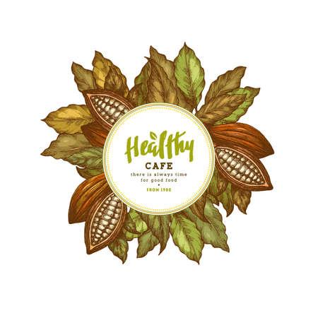 Health organic food in circular illustration.