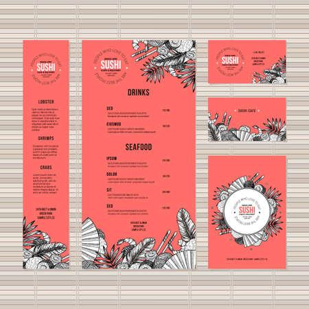 Sushi menusjabloon. Aziatisch eten restaurant identiteit. Gegraveerde stijl illustratie. Vector illustratie Stock Illustratie