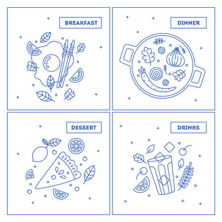 Minimalist food collection. Set of lineart dinner illustrations. Vector illustration