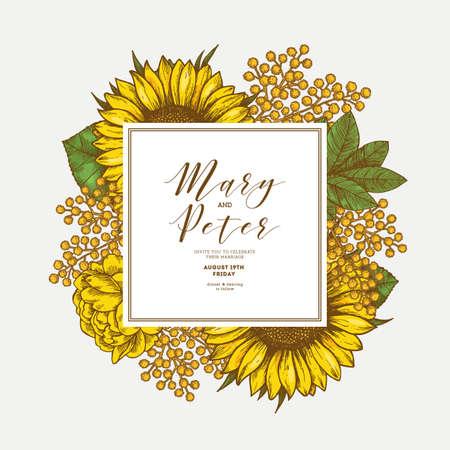 Zonnebloem vintage bruiloft uitnodiging. Ontwerp met gele bloemen. Vector illustratie