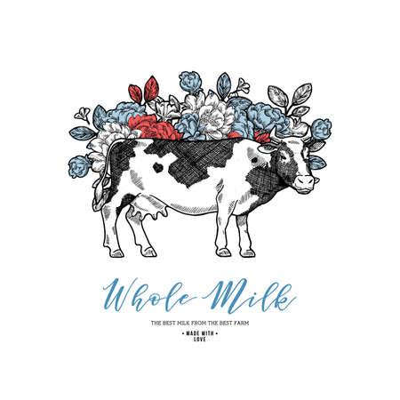 Boerderij koe met bloemen ontwerpsjabloon. Koe illustratie. Vector illustratie