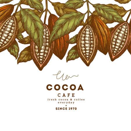 코코아 콩 나무 빈티지 디자인 서식 파일입니다. 새겨진 된 스타일 그림입니다. 초콜릿 코코아 콩. 벡터 일러스트 레이 션