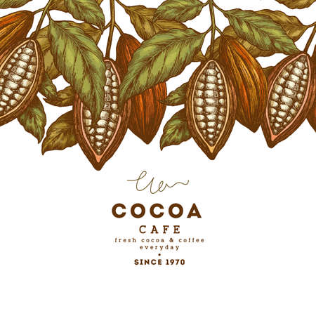 Cocoa bean tree vintage design template. Engraved style illustration. Chocolate cocoa beans. Vector illustration Stock Illustratie