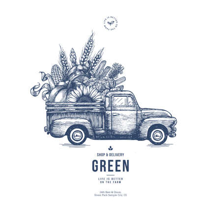 Farm fresh delivery design template. Classic vintage pickup truck with organic vegetables. Vector illustration Ilustracja